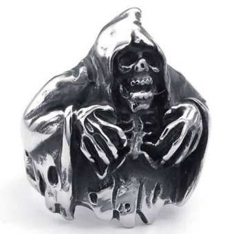 ... Chain Necklace Source Mens Stainless Steel Ring Gothic Casted Grim Reaper Skull Black Silver Intl