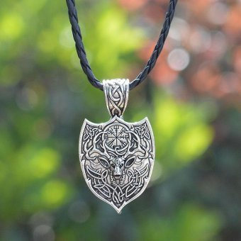 Harga Kuhong Men Legendary Viking norse large Deer Nordic Talisman Amulet pendant Necklace - intl