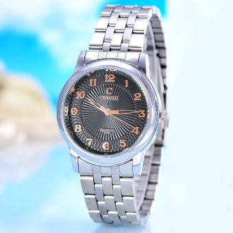 Harga Cenozo - Jam Tangan Pria - Body Silver -Black Rose Dial - Silver Stainless Steel Band - CNZ-RT-8130A-G-SBR - Stainless Steel Band