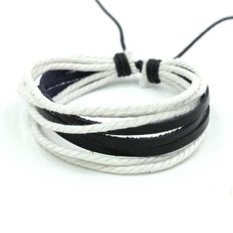 Harga ETOP Wrap Multilayer Synthetic Leather Bracelet with Braided rope Jewelry (White)
