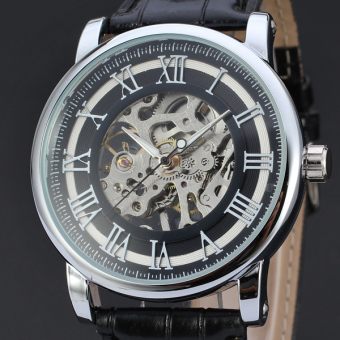 Harga Male Leather Business Skeleton Mechanical Men Hand Wind Military Gift Sport Luxury Wrist Watch