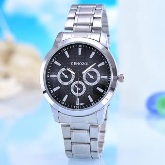 Harga Cenozo - Jam Tangan Pria - Body Silver - Black Dial - Silver Stainless Steel Band - CNZ-RT-9207A-G-SB - Stainless Steel Band