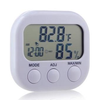 LCD Digital Termometer Pengukur Suhu Kelembaban Hygrometer Meteran Dalam Jam .