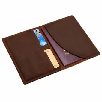 Harga Genuine Leather Passport Holder Wallet, Boshiho Passport Cover Case and Credit Card Organizer Slim Travel Wallet(Brown) - intl