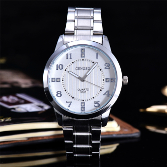 Harga Cenozo - Jam Tangan Pria - Body Silver - White Dial - Silver Stainless Steel Band - CNZ-RT-9161C-G-SW - Stainless Steel Band