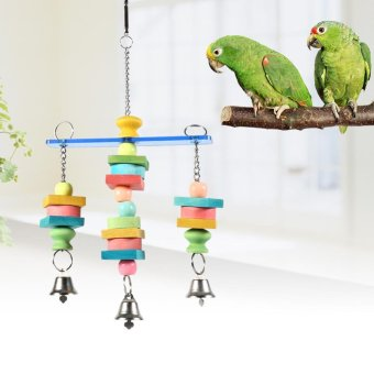 Harga Wooden Pet Bird Parrot Chew Toy Cockatiel Playing Hanging Swing Toys - intl