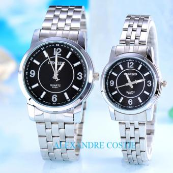 Harga Cenozo - JamTangan Pria dan Wanita - Body Silver – Black Dial – Stainless Stell Band – CNZ-RT-8126C-GL- Couple-SB-Stainless Stell Band