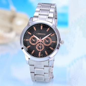 Harga Cenozo - Jam Tangan Pria - Body Silver - Black/Rose Gold Dial - Silver Stainless Steel Band - CNZ-RT-9207G-SB/SW - Stainless Steel Band