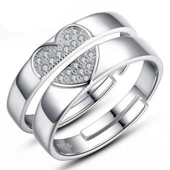 Couple Rings Jewellry 925 Silver Adjustable Lovers Ring Jewelry E026 - intl