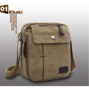 Shimon Men Messenger Bag Canvas Vintage Shoulder Crossbody Bags Outdoor Travel Bag (Khaki)
