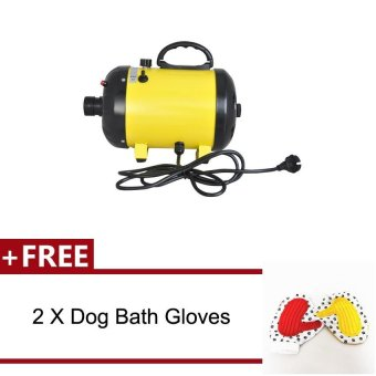 Harga Vinmax 2400W Adjustable 2-Speed Grooming Pet Hair Dryer Dog Cat Animal Air Blower + Free 2Pcs Dog Bath Gloves Color Random Sent(Yellow) - intl