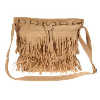 Women Fringe Tassel Shoulder Bag Crossbody Bag Messenger Handbag(hhaki)