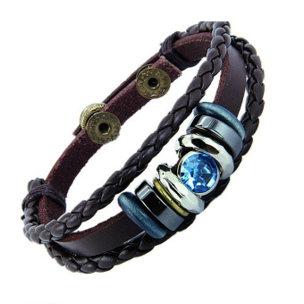 Harga Fancyqube Ethnic Button Leather Bracelet Blue