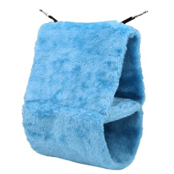 Harga Dual Layer Bird Nest Parrot Bed Coral Fleece Warm Bird Parrot Shed Hammock (Blue) - intl