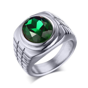 Titanium Steel Green Rhineston Steel-color Ring for Men Great for Gifts