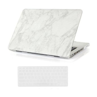 "Harga Welink 3 in 1 Apple MacBook Pro 13"" Case / Marble Pattern Hard Case + Anti-dust Plug + Keyboard Cover for Apple MacBook Pro 13"" [Models:A1278] (White)"