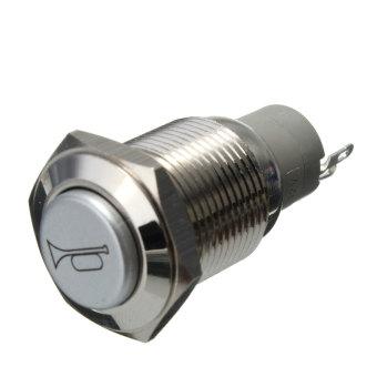 12 V memimpin 16 mm sesaat datar logam tahan air mendorong tombol saklar lampu klakson mobil