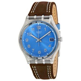 Swatch - Jam Tangan Pria - Bening-Biru - Strap Coklat Tua - GM415