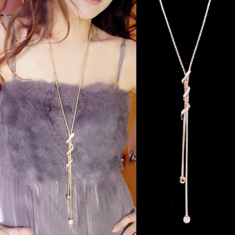 8 mm perhiasan wanita model baju panjang rantai kalung liontin (aneka warna)