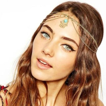 Fashion Fatima Metal Head Chain Jewelry Chain Headband Piece Hair Band Gold - intl
