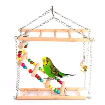 Harga Pet Hanging Ladder Stairs Climbing Swing Double-Layer Wood Parrot Cage Toy - intl