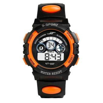 Harga Waterproof Mens Boy's Digital LED Quartz Alarm Date Sports Wrist Watch OR - intl