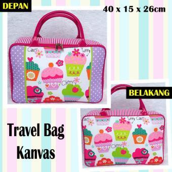 TRAVELBAGMURAH - Travel Bag Kanvas CUPCAKE PINK