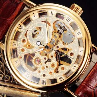 Harga Automatic Watch Men Design Skeleton Clock Luxury Gold Hand Wind Mechanical Leather Wrist Male Business Watch - Intl