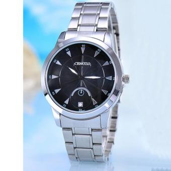 Harga Cenozo - Jam Tangan Pria- Body Silver - Black Dial - Silver Stainless Steel Band - CNZ-RT-8207-G-SB - Stainless Steel Band