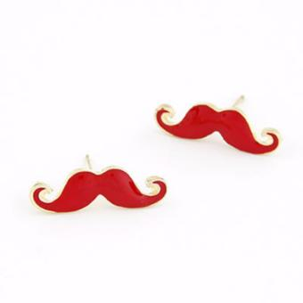 Harga LRC Anting Korean personality fashion candy color moustache charm studs earrings