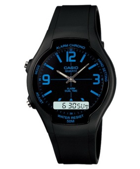 Harga Casio AW90H Blue - Men Watch - Black - Tali Resin