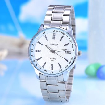 Harga Cenozo - Jam Tangan Pria - Body Silver - White Dial - Silver Stainless Steel Band - CNZ-RT-9103D-G-SW - Stainless Steel Band