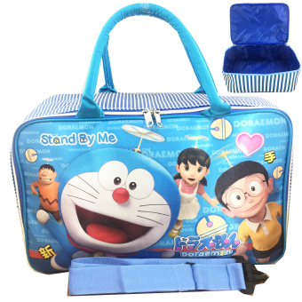 Harga BGC Travel Bag Full Sateen Doraemon And Friends + Tali Selempang - Blue White