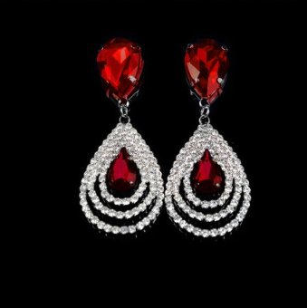 Harga Okdeals Sparkling Crystal Teardrop Dangle Drop Studs Rhinestone Hoop Earring Red