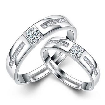 Couple Rings Jewellry 925 Silver Adjustable Lovers Ring Jewelry E024 - intl