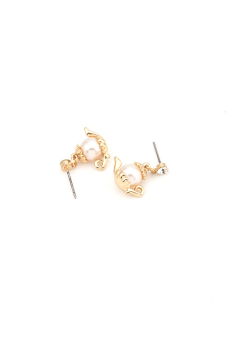 Harga One Zero One Alloy Pearl Cup Earrings(Golden)