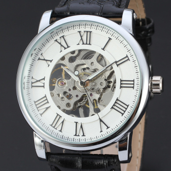 Harga Sewor Cool Male Leather Business Skeleton Mechanical Men Hand Wind Military Wrist Watch - intl
