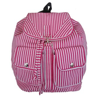 Harga Bag & Stuff Korea Canvas Salur Backpack / Tas Ransel Wanita Korea Kanvas Salur / Korean Backpack - Merah