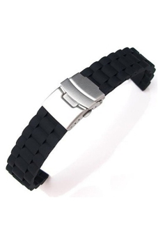 Harga 20mm Waterproof Soft Silicone Watch Band Strap with Stainless Steel Clasp Buckle Black
