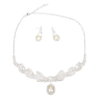 BolehDeals Crystal Rhinestone Jewelry Pearl Dangle Necklace Earring Set Wedding Bridal