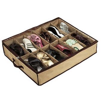 12 pasang sepatu di bawah ranjangnya kabinet penyimpanan penyelenggara pemilik tas kain kotak -