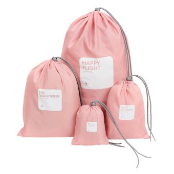 Harga BXT 4 PCS Travel Essential Bags-in-Bag,Travel Storage Waterproof Nylon Drawstring Dry Bag Clothes Pack Shoe Pouch Stuff Bag Organisers Set of 4 Size - Intl