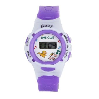 Harga Boys Girls Students Time Electronic Digital Wrist Sport Watch Purple - intl