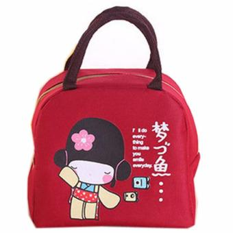 Harga Outdoor Picnic Portable Lunch Dinner Bag Container Box Carry Totes Pouch, Portable Picnic Pouch Totes Alunimium Foil Character Bag Japanese Girl Red