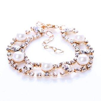 Cocotina Fashion Kristal Berlian Imitasi Pesona Gelang Emas Rantai Warna Pesta Hadiah Perhiasan