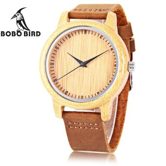 Harga S&L BOBO BIRD A09 Men Wooden Quartz Watch Concise Style Genuine Leather Band Japan Movt Wristwatch (Brown) - intl