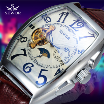 Harga Sewor Automatic Mechanical Men Classic Skeleton Mechanical Leather Tonneau Case Watch - intl