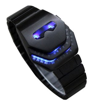 Harga Fashion Cool Men's Stainless Steel Snake Head Blue LED Watch