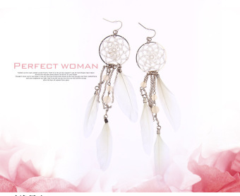Harga Charm Bohemia Ethnic Feather Beads Long Design Dream Catcher Earrings for Women Specialofferly -White - intl