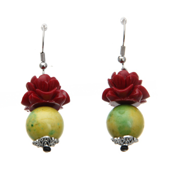 Harga Pair Retro Ethnic Style Red Rose Hook Earrings Ear Studs Party Gift Yellow - Intl